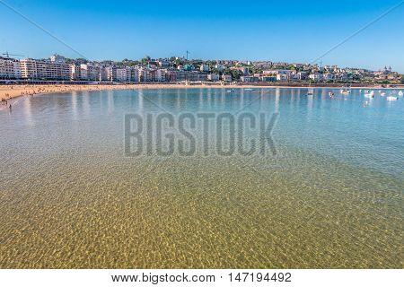 La Concha Beach in San Sebastien, Basque Country Spain