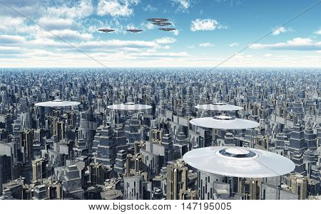 Computer generated 3D illustration with flying saucers over a megacity