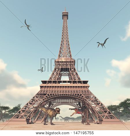 The dinosaurs in Paris - Computer generated 3D illustration with the Eiffel Tower, the dinosaurs Tyrannosaurus Rex, Spinosaurus, Apatosaurus and the pterosaur Quetzalcoatlus in Paris