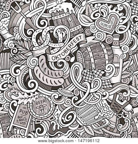 Cartoon cute doodles hand drawn Octoberfest seamless pattern. Line art detailed, with lots of objects background. Endless funny vector illustration. Contour backdrop with beer symbols and items