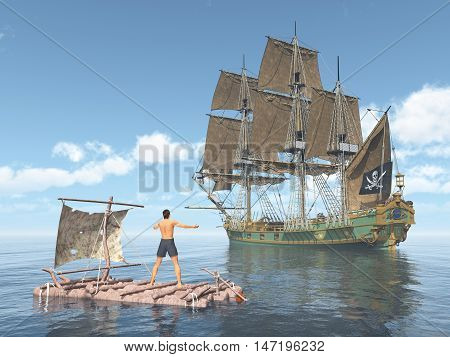 Computer generated 3D illustration with man on a raft and pirate ship