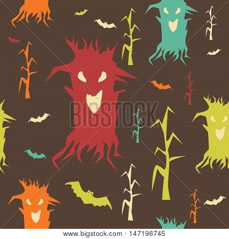 Seamless pattern of creepy demonic trees. Nightmare animated forest. Dead trees with crooked branches and bats with evil eyes. Vector illustration for various creative projects