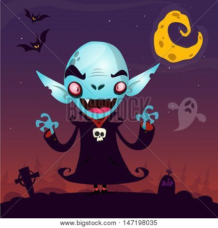 Cute cartoon vampire. Halloween vampire character isolated on dark background fith cemetery ghost and moon. Great for card or poster