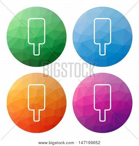 Collection of 4 isolated modern low polygonal mosaic abstract buttons - icons - for ice cream lolly (silhouette)