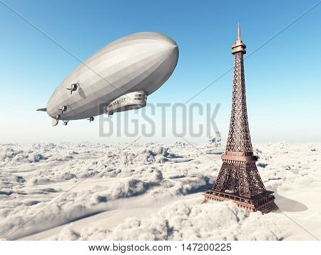 Computer generated 3D illustration with Zeppelin and Eiffel Tower over the clouds