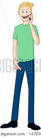 Vector illustration of a blond guy standing and talking on the phone.