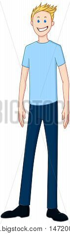 Vector illustration of a blond guy standing and smiling.