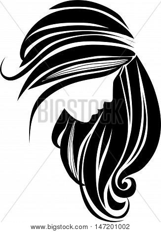 Hair icon. Beautiful female silhouette. Girl with long hair