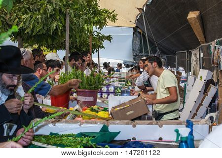 JERUSALEM, ISRAEL - OCTOBER 8, 2014: Sukkot in Israel. Traditional holiday market in Jerusalem. Religious Jews buy items, necessary during the holiday