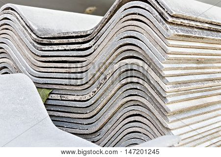 Close up of roof tiles stack texture