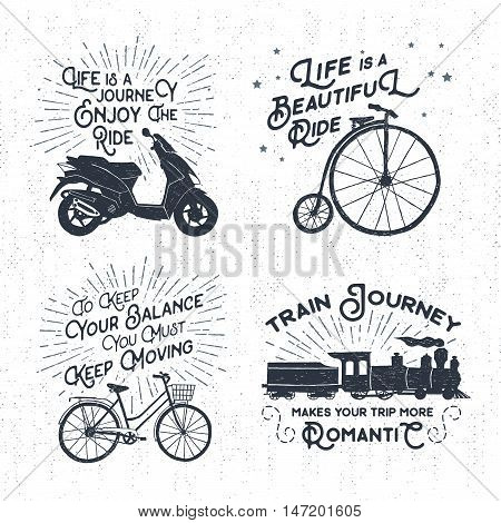 Hand drawn textured vintage labels set with scooter bicycle steam train and lettering vector illustrations.