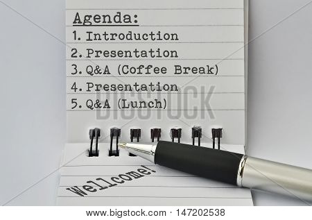 Typical time schedule for the most presentations in form of agenda