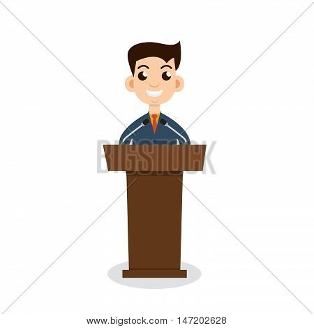 Public speaking flat design. Orator speaking. Stock vector. Vector illustration.