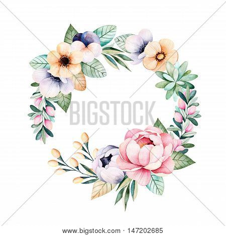 Colorful floral pastel wreath with roses,flowers,leaves,succulent plant,branches,eucalyptus leaves,pansy flower,feather and more.