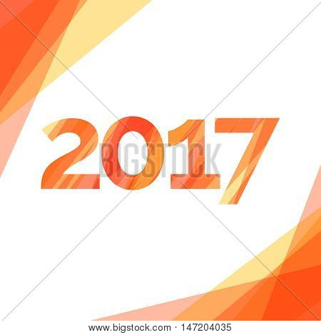 Happy new year 2017 creative greeting card design with red stripes. Vector illustration
