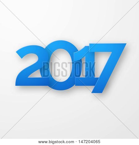 Blue paper happy new year 2017 with shadow. Creative typography greeting card design. Vector illustration