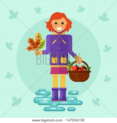 Flat design vector illustration of funny smiling girl in jacket and rubber boots holding bunch of leaves and basket with vegetables. Including autumn symbols: herbarium, leaf fall, harvest, puddle.