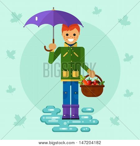 Flat design vector illustration of funny smiling boy in jacket and rubber boots holding umbrella and basket with vegetables. Including autumn symbols: harvest, leaf fall, puddle.