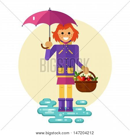 Flat design vector illustration of funny smiling girl in jacket and rubber boots holding umbrella and basket with vegetables. Including autumn symbols: harvest, leaf fall, puddle.