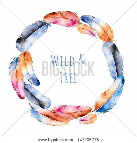 Handpainted watercolor wreath of colorful feathers and  text.