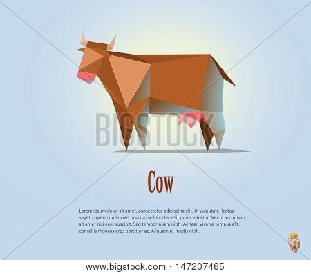 Vector polygonal illustration of red cow with milk, modern dairy products icon, low poly style