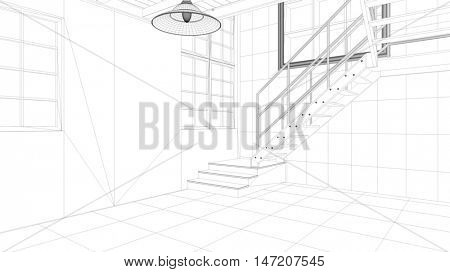CAD model construction of loft with staircase (3D Rendering)