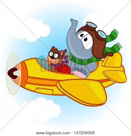 elephant and mouse on the airplane - vector illustration, eps
