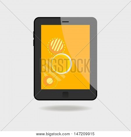 Realistic tablet pc computer with orange screen on white background