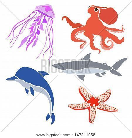 Colored silhouettes sea creatures.  Isolated on white background.