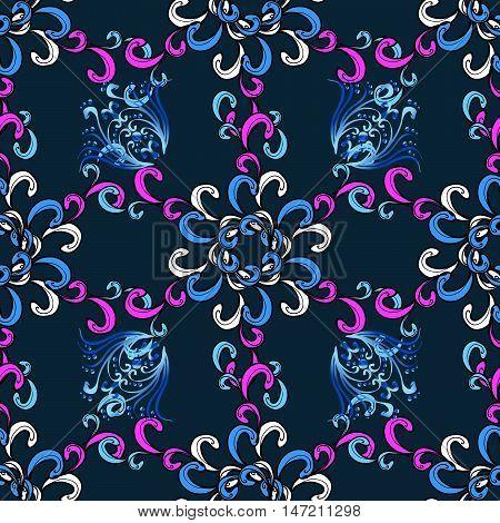 Raster boho chic flower seamless pattern. Mandala design element. Unusual flourish ornament. Blue pink lilac. Raster illustaration.