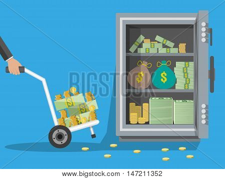 Business man with a hand truck full of money and coins. steel safe with money. loading money in safebox. vector illustration in flat style on blue background