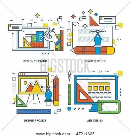 Concept of design training, construction, design project, web design. Color Line icons collection.