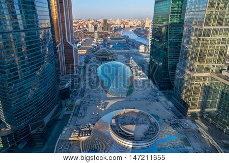 MOSCOW - MAR 26, 2016: Central core in Moscow International Business Center. Underground part of the Core includes 3 metro station