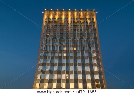 MOSCOW - JUN 11, 2016: Hotel Golden Ring building in summer night in Moscow, Russia