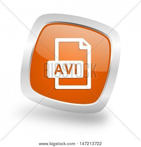 avi file square glossy orange chrome silver metallic web icon