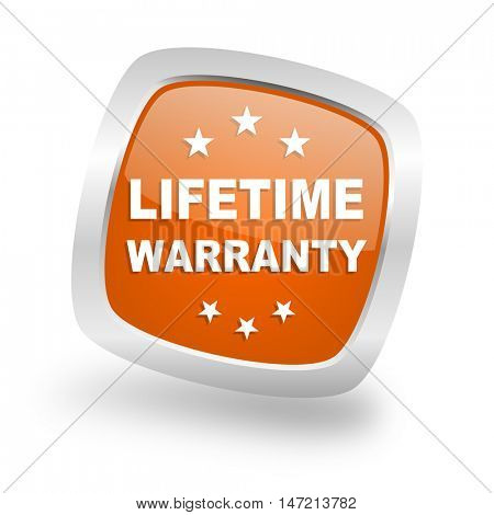 lifetime warranty square glossy orange chrome silver metallic web icon