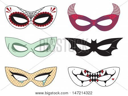 Cut out paper Halloween masks: dead face, zombie, pop art face, devil, bat and clown. Actual size. Vector set isolated on white.