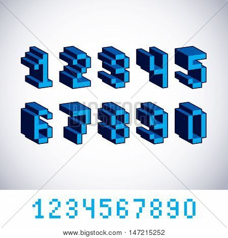 Vector digits numerals created in 8 bit style. Pixel art numbers set 3d mathematics design elements.