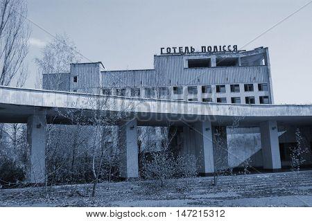 Chernobyl area. Lost city Pripyat. Modern ruins.25 April 2009. Ukraine. Kiev region.