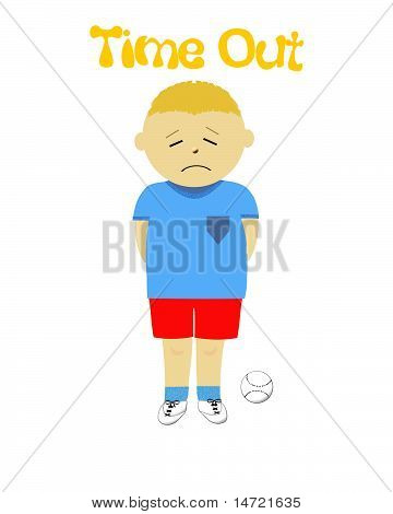 naughty little boy in time out illustration poster