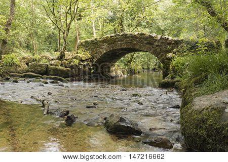 An image of Hisley Bridge, an ancient Packhorse Bridge in Dartmoor National Park, Devon, England, UK.