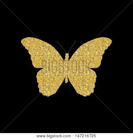 Gold Butterfly Icon Silhouette Vector Illustration EPS10