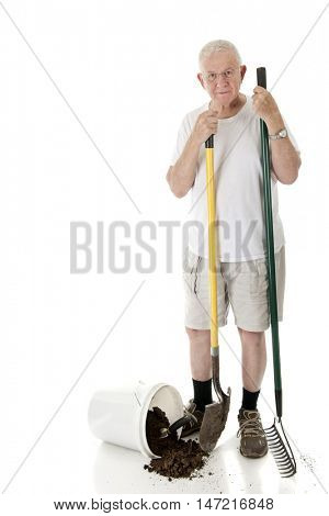 A senior man looking at the viewer as he holds a garden rake and shovel, a bucket of spilled dirt at his feet.  On a white background with space on his right for your text.