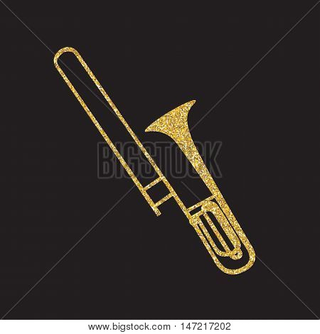 Brass Instrument Trombone, which Plays Jazz Music Direction. Vector Illustration. EPS10