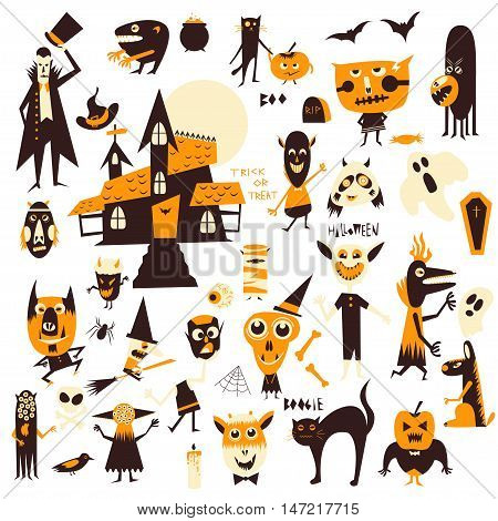 Vector set of icons and characters. Halloween theme. Cartoon icon icon for logo web site design app UI.