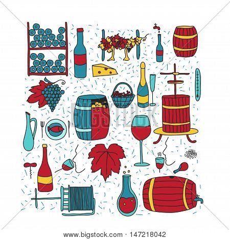 Vector colored doodle icon set. Winemaking theme: barrel bottle wineglass wine vineyard degustetion crushing pressing bottling . Doodle wine icons for polygraphy web design logo app UI.