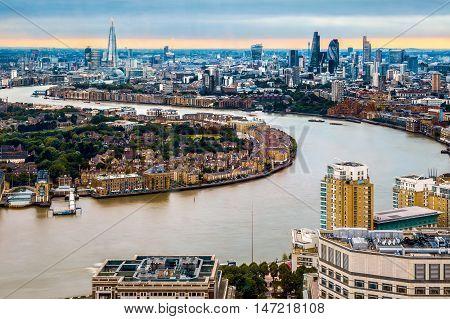 London Skyline, Aerial View With Landmarks