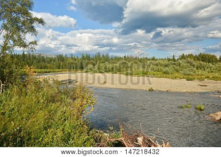 River in the mountain taiga of the Northern Urals. UNESCO World Heritage Site Virgin Komi Forests.