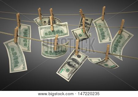 Concept Of Money Laundering Dollar Money Bills On Roupe 3D Ender On Gradient