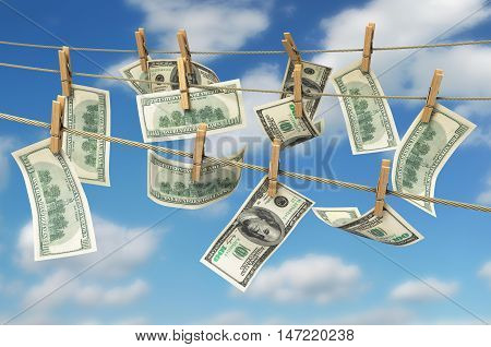 Concept Of Money Laundering Dollar Money Bills On Roupe 3D Ender On Sky Backgrownd